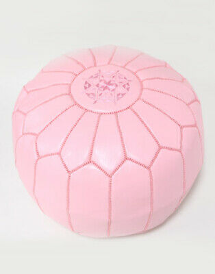 Moroccan LIGHT PINK LEATHER POUFFE • 47.99£