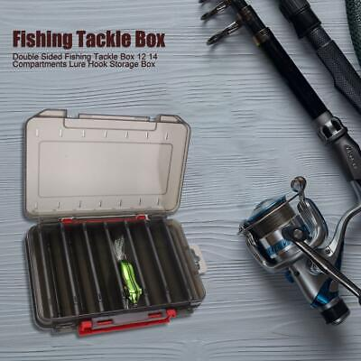 Double Sided Fishing Tackle Box 12 14 Compartments Lure Hook Storage Box • 4.64£