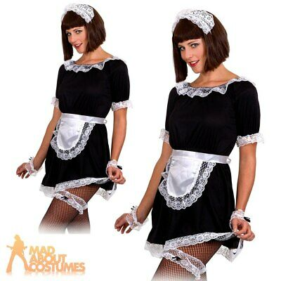 £4.29 • Buy Ladies French Maids Costume Set Lace Apron Garter Cuffs Hat Adult Fancy Dress
