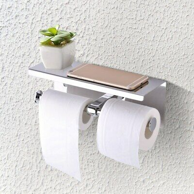 Wall Mounted Bathroom Toilet Paper Phone Holder Rack Double Tissue Roll Stand • 19.10£
