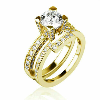 $ CDN3505.28 • Buy Real 2 Carat Round Cut & Accents Diamond 18k Yellow Gold Bridal Ring & Band Set