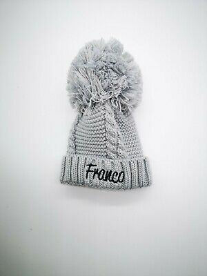 £6.99 • Buy Personalised Baby Cable Knit Pom Pom Beanie Embroidered Hat 0-3m 4 Colors