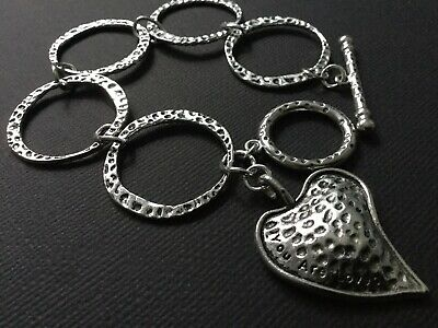 £4.49 • Buy Silver Chunky Bracelet With Big Hammered Circles LOVE HEART And T Bar Fastener