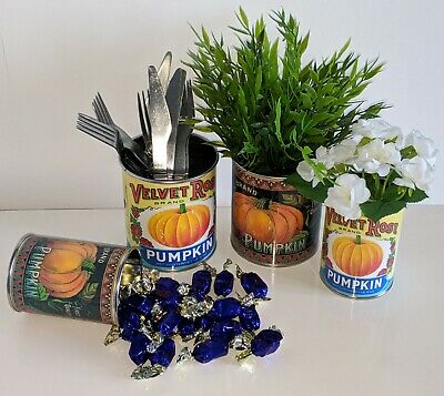 Vintage Halloween Pumpkin Tin Can Props Trick Or Treat Sweet Holder Decoration T • 7.50£