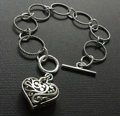 £4.29 • Buy Silver Chunky Circles Bracelet With A Puffy  LOVE HEART And T Bar Fastener