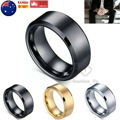 AU6.95 • Buy Titanium Stainless Steel Brushed Polished Men Women Wedding Band Mens Ring AUS