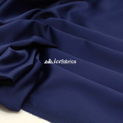 £13.79 • Buy Navy Blue_  Armani Stretch Silky Satin Fabric Sold By The Yard_ Heavy Thick _