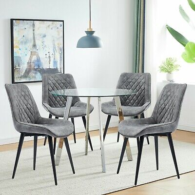 £109.99 • Buy Set Of 2 Dining Chairs Fabric Padded Seat Slope Accent Chair Living Room Kitchen