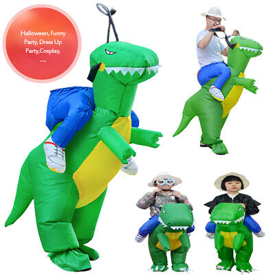 Adult Kids Riding Inflatable Dinosaur Costume Halloween Party Dress Cosplay Suit • 17.59£