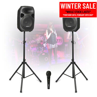 Powerful 12  Active Powered PA Sound System *Mobile DJ Speakers With Microphones • 195£