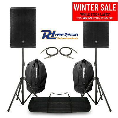 Pair 15  PA System Speakers With Stands & Bags Mobile DJ Band Stage 700W RMS • 389£