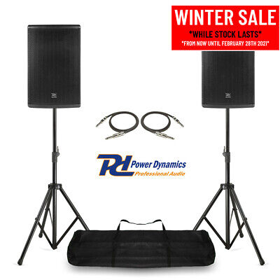 Pair Of 10  PA System Speakers With Stands Mobile DJ Live Band Stage 400w RMS • 255£