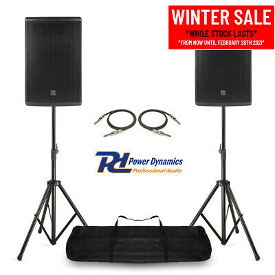 Pair Of 12  PA System Speakers With Stands Mobile DJ Live Band Stage 600w RMS • 305£