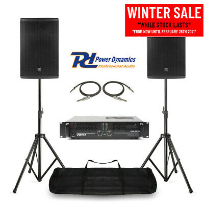 Pair Of 10  PA System Speakers, Amplifier & Stands Mobile DJ Band Stage 400w RMS • 369£