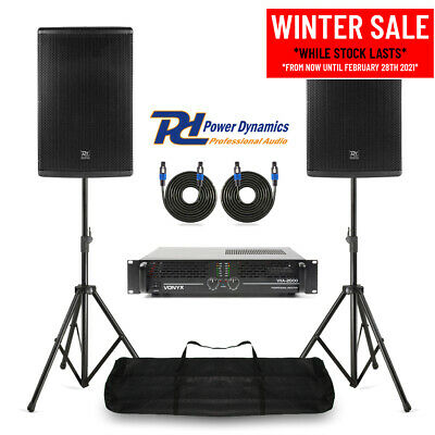 Pair 15  PA System Speakers, Amplifier & Stands Mobile DJ Band Stage 700W RMS • 479£