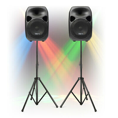 Fully Powered PA Speaker System With Stands TRULY PORTABLE Mobile Dj Disco Set • 195£