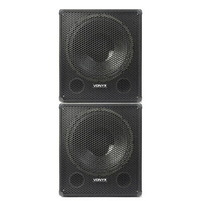 £239 • Buy Pair Of Bass Subwoofer DJ PA Speaker Subs 18  Woofer 1000W Low Pass Filters