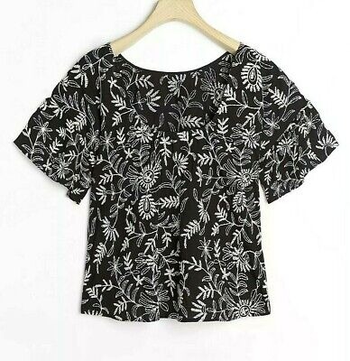$ CDN30.32 • Buy Anthropologie Rory Embroidered Blouse Black Motif Size XL $128 NWT