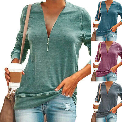 AU19.94 • Buy Womens Ladies Zip V Neck Long Sleeve T-Shirt Loose Casual Tops Blouse Plus Size