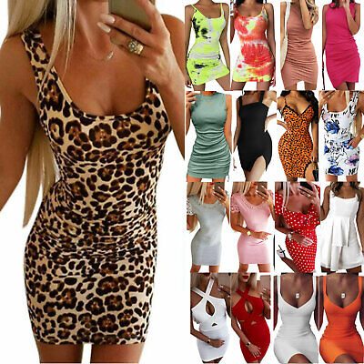 AU14.43 • Buy Women Ladys Summer Mini Short Dress Evening Cocktail Party Bodycon Sexy Sundress