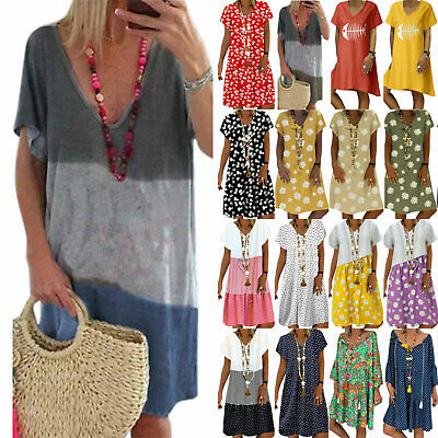 AU22.89 • Buy Plus Size Women Casual Tunic Dress Boho Summer Beach Kaftan Long T Shirt Dresses