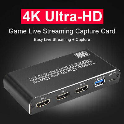 HDMI To USB3.0 Video Capture Card 4K 60Hz Game Streaming Live Recorder Box • 54.14£