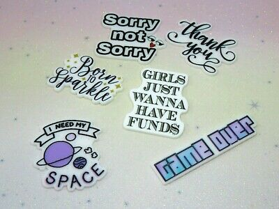 Quote Resin FlatBack Planar X6 Cabochon Decoden Craft Embellishment Hair Bow Mix • 2.99£