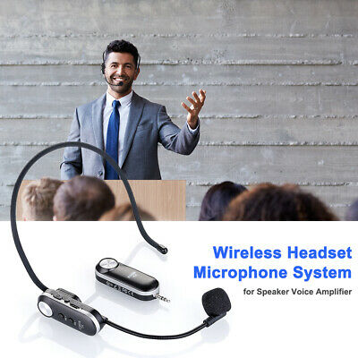 K380R UHF Wireless Headset Microphone System For Speaker Voice Amplifier • 18.99£