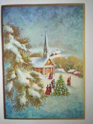 $ CDN2.99 • Buy Vintage Embossed On Our Way To Church Christmas Greeting Card + Envelope