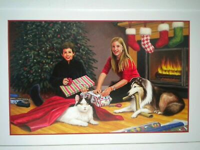 $ CDN1.99 • Buy VINTAGE  WRAPPING PRESENTS FOR MOM & DAD  CHRISTMAS GREETING CARD ~Ron Dollekamp