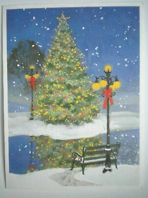 $ CDN1.49 • Buy VINTAGE TRIMMED TREE, LAMP POSTS, BENCH CHRISTMAS GREETING CARD ~ George Shedd