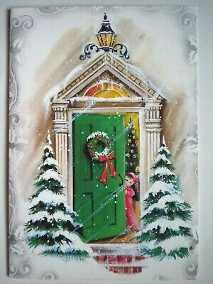 $ CDN1.49 • Buy Embassy~VINTAGE CURIOUS CHILD OPENING THE DOOR CHRISTMAS GREETING CARD +ENVELOPE