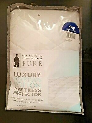 Jeff Banks Luxury Mattress Protector 100% Egyptian Cotton King Size NEW IN BAG • 28£
