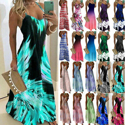 AU33.49 • Buy Women Boho Maxi Long Dress Summer Casual Beach Holiday Party Sundress Strappy AU