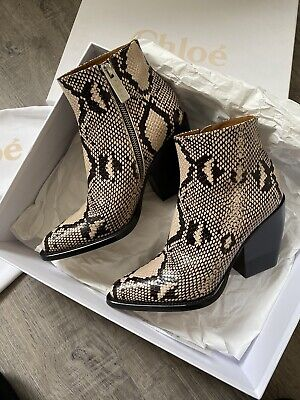 Chloe Rylee Snake Print Leather Boots 38 • 280£