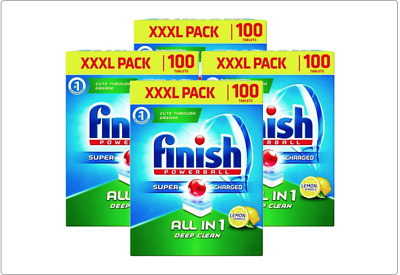 Finish 100 Powerball Super Charged All In One Dishwasher Tablets Lemon Sparkle • 12.99£