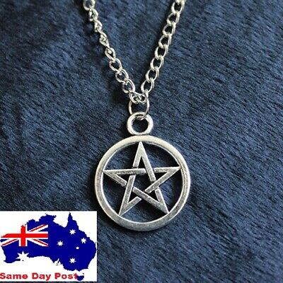 AU6.95 • Buy New Silver Pentagram Star Wicca / Pagan Pendant Charm Necklace Gift