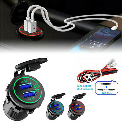 $ CDN13.24 • Buy Dual QC 3.0 USB Port Quick Car Charger Socket Outlet For Car Boat W/LED Display