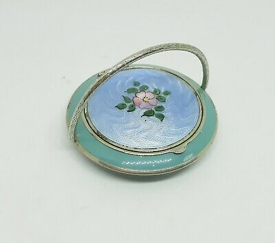 Art Deco Silver Plated Whoopee Compact Blue Guilloche Painted McRae & Keller • 120£