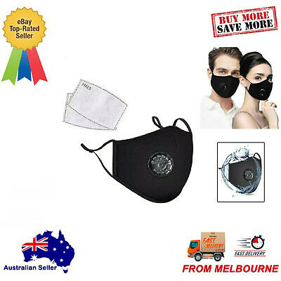 AU17.95 • Buy Reusable Washable Face Masks Anti Pollution Black Masks With 2 PM2.5 Filters