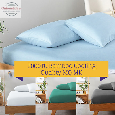 AU39 • Buy 2000TC Bamboo Cooling FITTED Sheet Set HypoAllergenic Breathable Ramesses Sheets