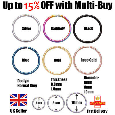 Nose Ear Sterling Silver Stud Hoop Piercing Small Thin Eyebrow Ring 6mm-10mm UK • 0.99£