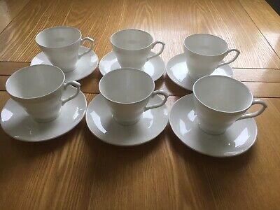 (boxes Of 6) English White Fine Bone China Tea Cups & Saucers, FIRST QUALITY • 30£