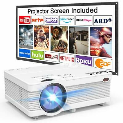 $ CDN208.12 • Buy QKK AK-81 Projector With Projection Screen 1080P Full HD Supported, Mini