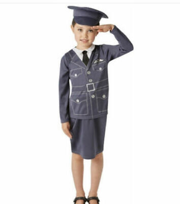Childs W.R.A.F RAF Girl Costume Wartime Fancy Dress Ages 3-10 Years • 8.99£