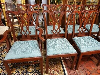 $4585 • Buy HENKEL HARRIS #108 Chippendale Mahogany Dining Room Chairs - Set Of 8