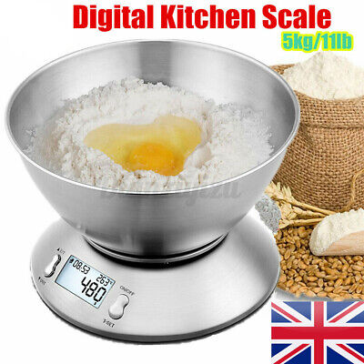 5kg/11lb Digital Kitchen Scale With Detachable Bowl LCD Electronic Food Weighing • 14.55£