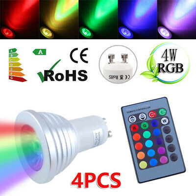 GU10 4W 16 Color Changing RGB Dimmable LED Light Bulbs Lamp RC Remote Spot Set • 10.19£