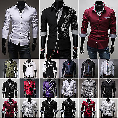 UK Mens Autumn Slim Fit Buttons Shirts Casual Long Sleeve Top Tunic Party Fromal • 13.67£