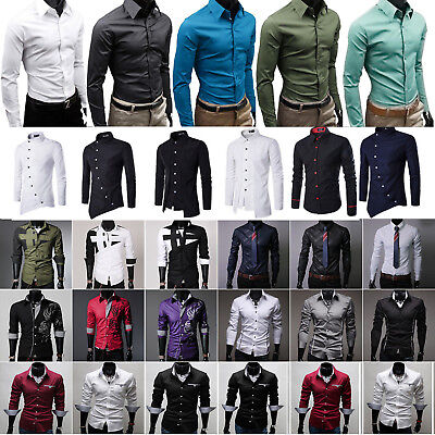 UK Mens Casual Long Sleeve Buttons Shirts Formal Slim Fit Tunic Blouse Tunic Top • 8.79£
